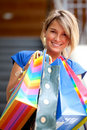 Shopping woman at a mall Stock Images