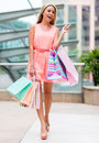 Shopping woman at the mall holding bags Stock Image