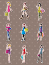 Shopping woman stickers Stock Photography