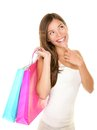 Shopping woman thinking Royalty Free Stock Image