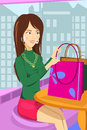 Shopping woman a vector illustration of a sitting at a cafe Royalty Free Stock Images