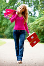 Shopping woman walking Royalty Free Stock Photography