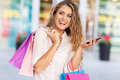 Shopping woman young with bags Stock Photos