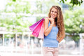 Shopping woman young with bags Stock Photography