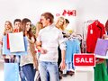 Shopping women at Christmas sales. Royalty Free Stock Image
