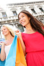 Shopping women city portrait Royalty Free Stock Photography