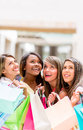 Shopping women looking up group of daydreaming Stock Photography