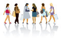 Shopping women a set of colorful silhouettes of people Royalty Free Stock Images