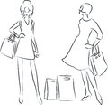 Shopping women vector illustration of with bags Royalty Free Stock Photography