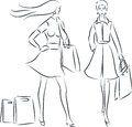 Shopping women vector illustration of with bags Stock Image