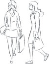 Shopping women vector illustration of with bags Royalty Free Stock Images