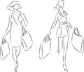 Shopping women vector illustration of with bags Royalty Free Stock Photos