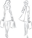 Shopping women vector illustration of with bags Stock Images