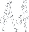 Shopping women vector illustration of with bags in line art Royalty Free Stock Image