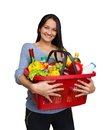 Shopping young girl with a basket full of goods Royalty Free Stock Images