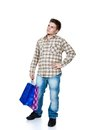 Shopping young man with bags isolated on white Royalty Free Stock Image