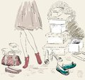 Shopping young woman for fashion shoes hand draw illustration Stock Photography