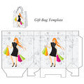 Shoppinh bag with a modern girl Royalty Free Stock Photo