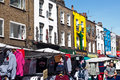 Shops in camden town london tourists walk past stalls and inverness st on august once a fresh produce and foodstuffs market Stock Photography
