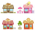 Shops cute bakery coffee pizza and ice cream eps Royalty Free Stock Photos