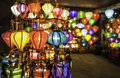 Shops selling chinese lanterns hoi vietnam Royalty Free Stock Photo