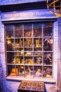 Shops windows display with magic objects in Diagon Alley from Harry Potter film. Warner Brothers Studio. UK Royalty Free Stock Photo