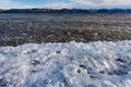 Shore ice lage laberge freeze up yukon canada during of territory winter landscape Royalty Free Stock Photo