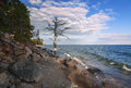 Shore lake baikal mid baikal Royalty Free Stock Images