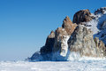 Shore of lake baikal in winter landscape mountains and frozen Stock Photography