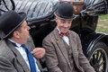 Shoreham by sea west sussex uk august laurel and hardy l lookalikes at airshow in on unidentified men Stock Images