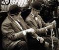 Shoreham by sea west sussex uk august laurel and hardy l lookalikes at airshow in on unidentified men Royalty Free Stock Photos