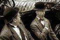Shoreham by sea west sussex uk august laurel and hardy l lookalikes at airshow in on unidentified men Stock Photography
