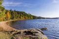 Shoreline of a Lake in Autumn - Ontario, Canada Royalty Free Stock Photo