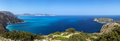 Shores of island kefalonia in the ionian sea panoramic view greece Royalty Free Stock Images
