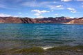 Shoreside view of pangong tso lake above ladakh leh Royalty Free Stock Photo