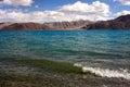 Shoreside view of pangong tso lake at leh ladakh Royalty Free Stock Image