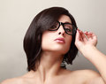 Short black hair woman in fashion glasses looking Royalty Free Stock Photography