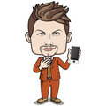 Short brown hair adult male business man business suit nice brown leather shoes holding touch screen smart phone his hand cartoon Stock Image