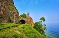 Short browsing railway tunnel on lake Baikal Royalty Free Stock Photo