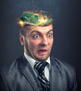 Short circuit in businessman head Royalty Free Stock Photo
