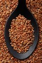 Short grain red rice top view of black spoon full of Stock Photo