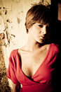 Short haired woman staring at camera Royalty Free Stock Images