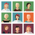 Short hairstyles female avatar icons set