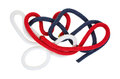 Short lengths of red white and blue rope a small jumble pieces Stock Images