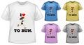Short sleeves shirt five design of tshirts Royalty Free Stock Image
