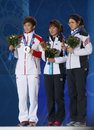 Short track Ladies' 1000m medal ceremony Stock Photography