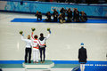 Short-trek speed skating ladies 1500 meters flower ceremony at X Royalty Free Stock Photo