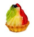Shortbread cake with fresh fruit, isolated Stock Photo