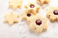 Shortbread cookies close up of on white wooden background Stock Photos