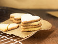 Shortbread cookies in shape of heart on a cooling rack as symbol love Stock Photography